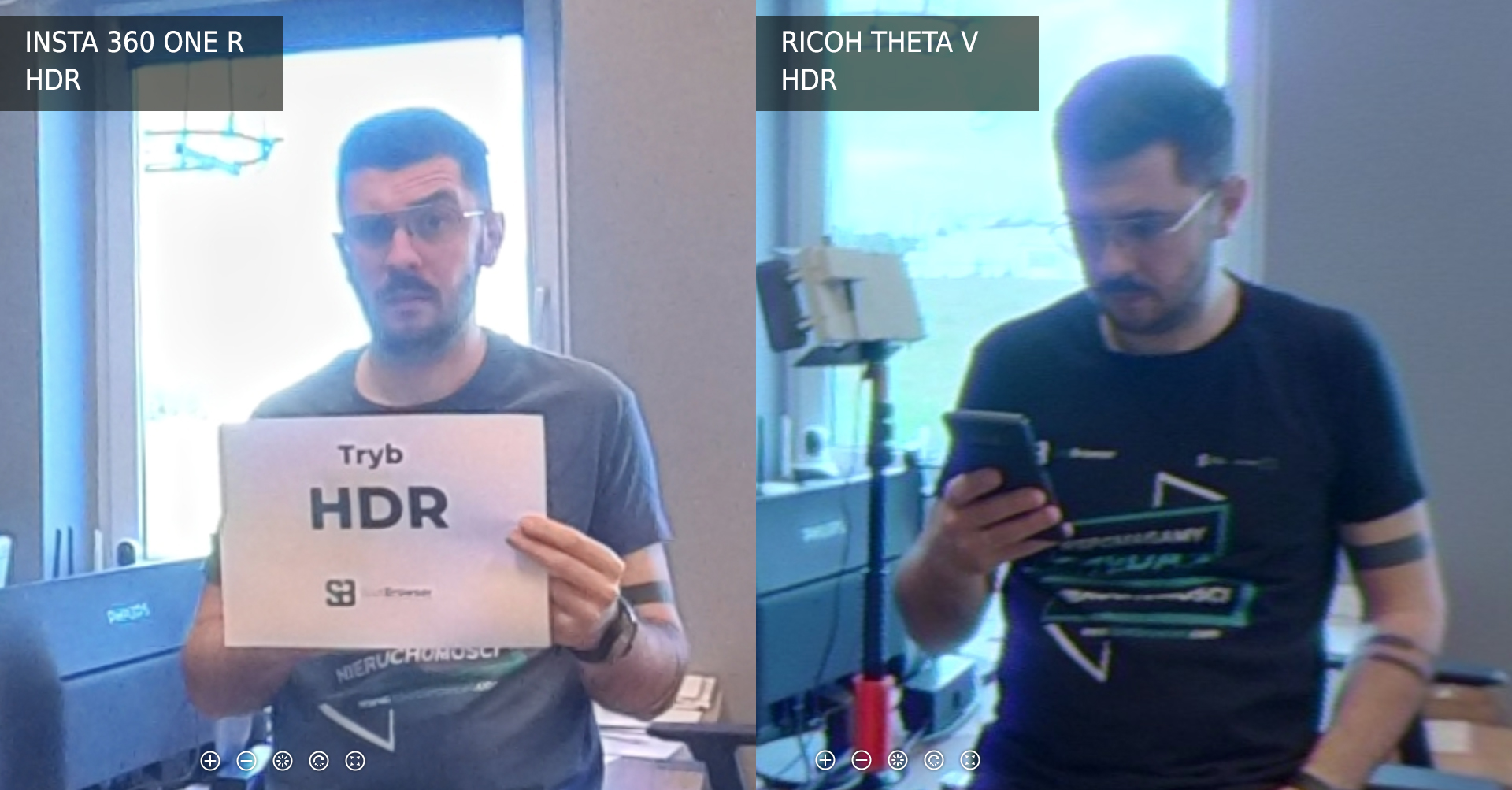 Ricoh Theta V vs Insta 360 One R tryb HDR