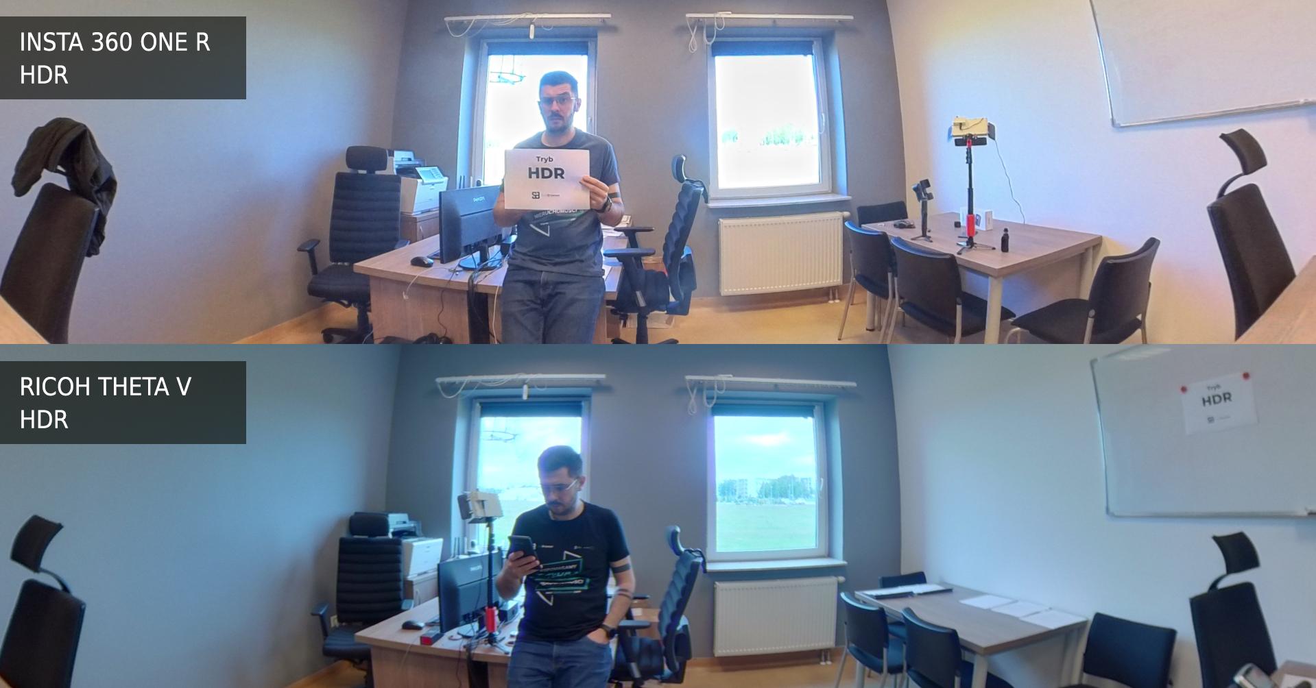 Ricoh Theta V vs Insta 360 One R tryb HDR, szeroki kąt