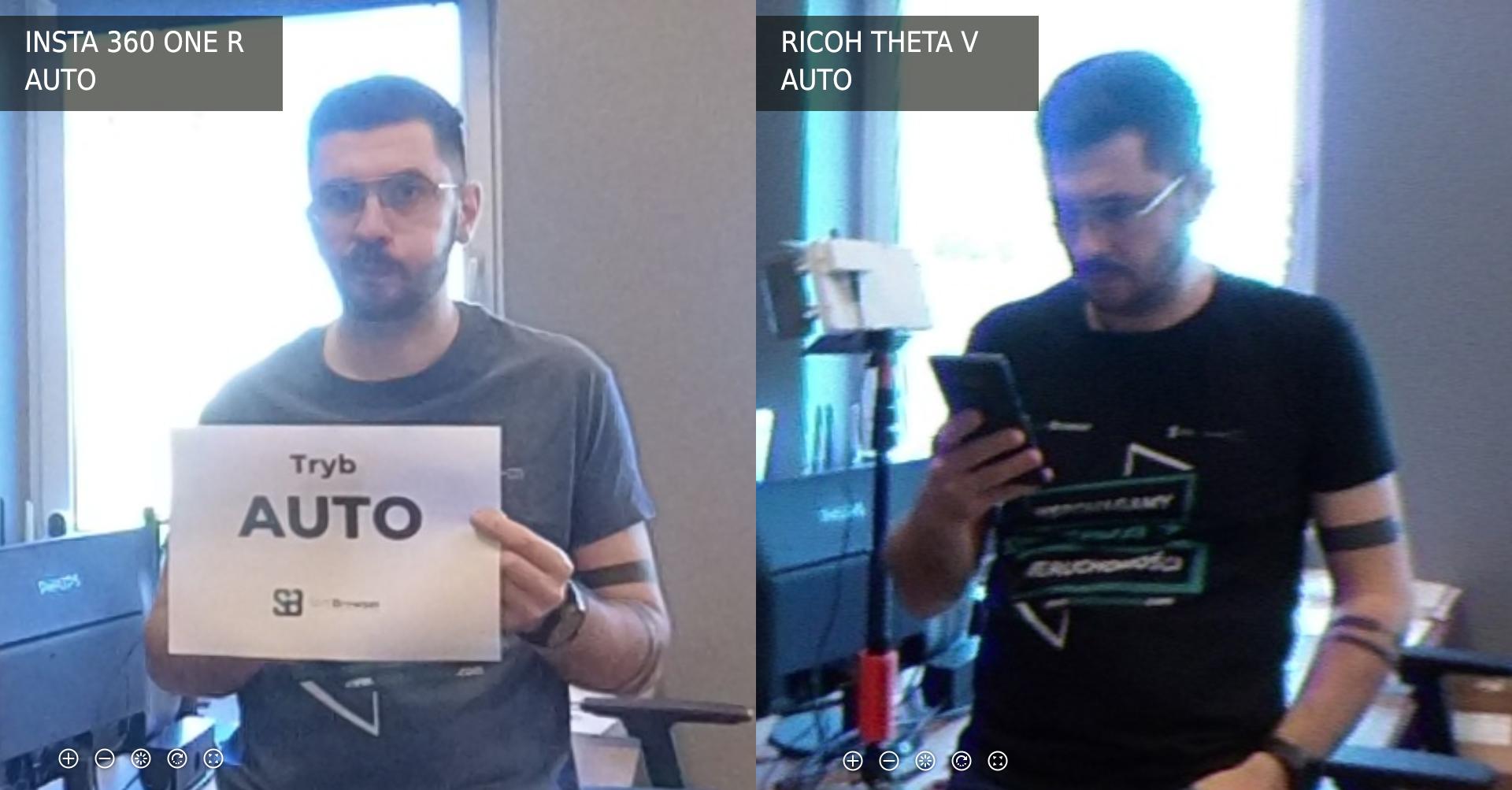 Ricoh Theta V vs Insta 360 One R tryb Auto