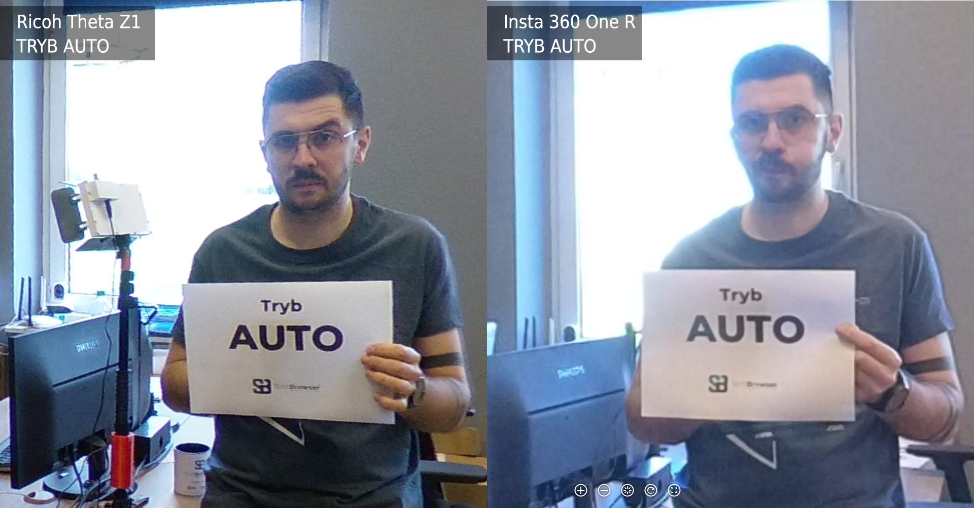 Ricoh Theta Z1 vs Insta 360 One R Tryb Auto
