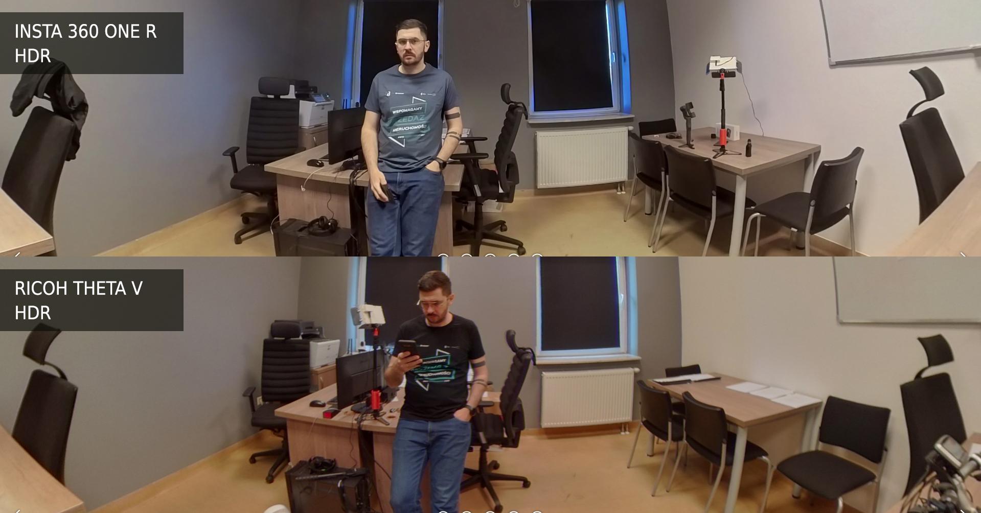 Ricoh Theta V vs Insta 360 One R tryb NightShot vs HDR